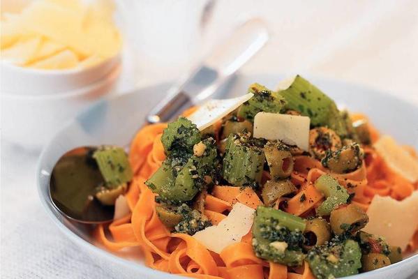 tagliatelle with celery and pesto sauce