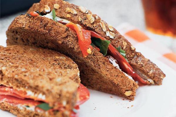 wholegrain toast with fresh cream cheese and chorizo