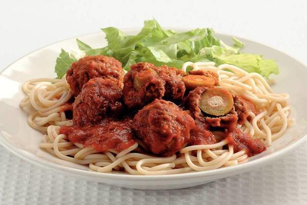 spaghetti with olive meatballs