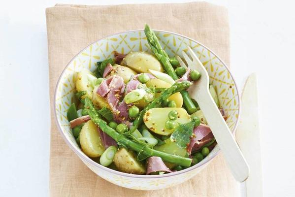 potato salad with lamb ham and spring vegetables
