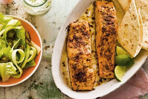 marinated salmon and butter lettuce