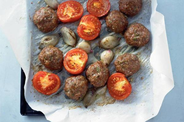 meatballs from the baking sheet
