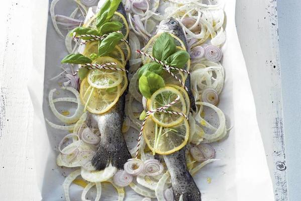 trout with basil from the oven