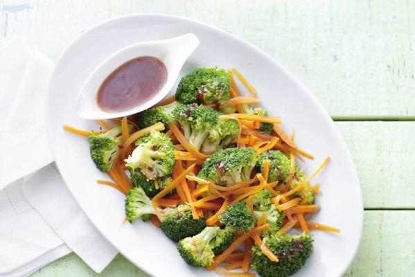 broccoli and carrot with ginger-chili sauce