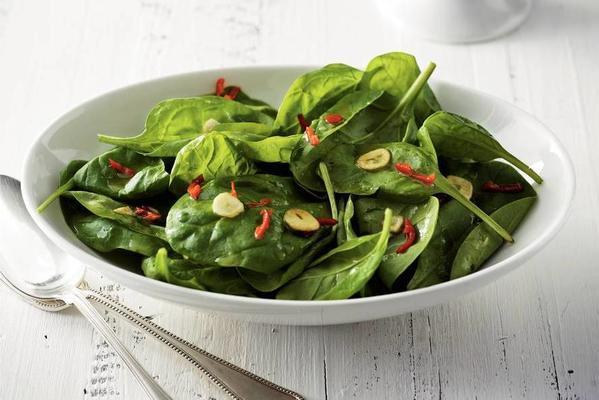 spinach salad with warm garlic dressing