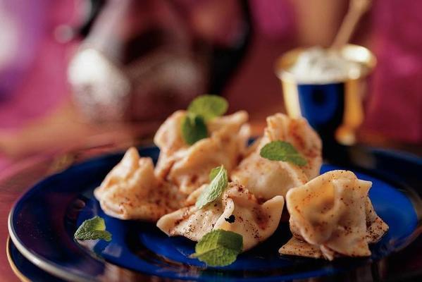manti (stuffed pasta with yogurt sauce)