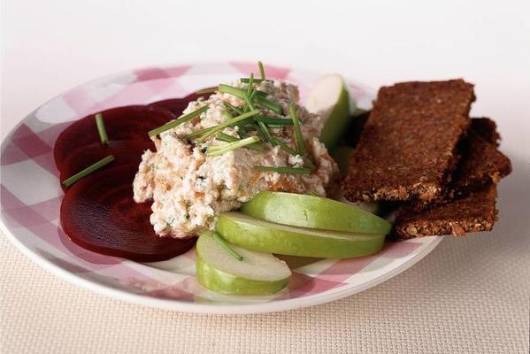 herring mousse on beetroot salad