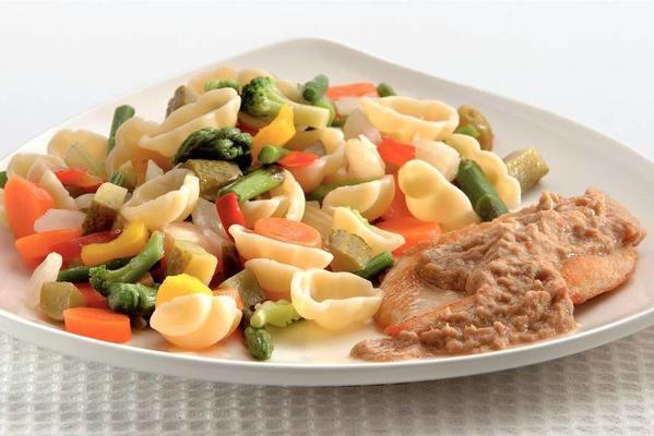 pollo tonato with pasta salad