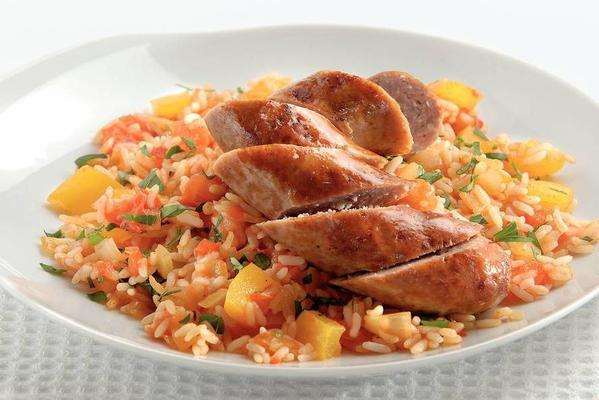 bratwurst with spiced tomato rice