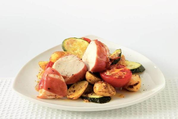 chicken with ham and potatoes from the oven