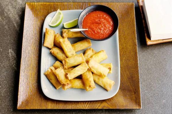 mini spring rolls and paprika sauce