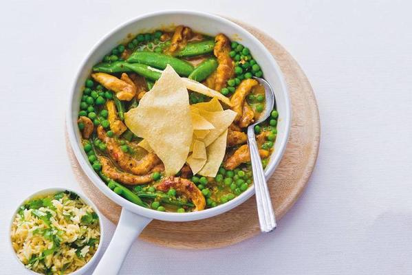 chicken curry with sugarsnaps