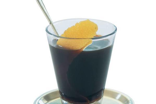 coffee with brown rum and orange