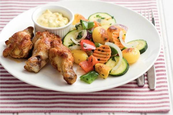 chicken cloves with french dragon mayonnaise
