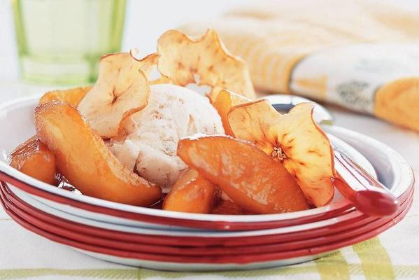 baked apple and apple chips with ice