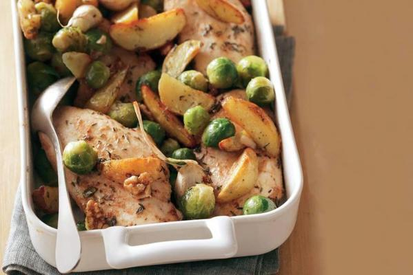 chicken fillet with marinated vegetables from the oven