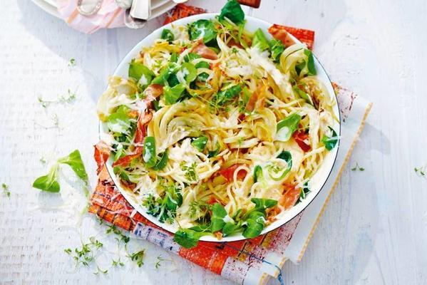 spaghetti with raw ham and ricotta
