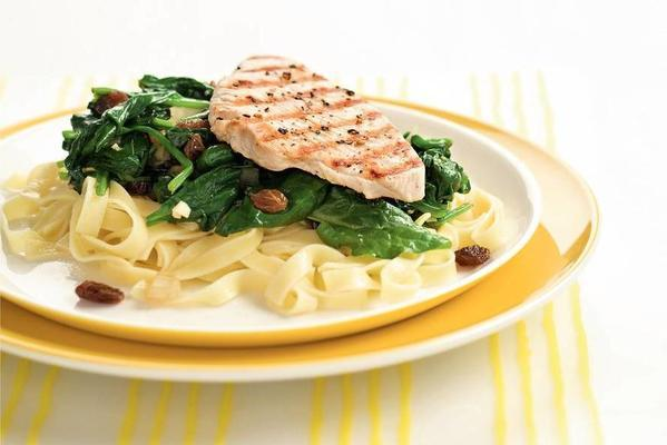 spinach dish with turkey breast