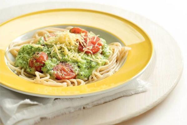 spaghetti with creamy broccoli-cheese sauce.