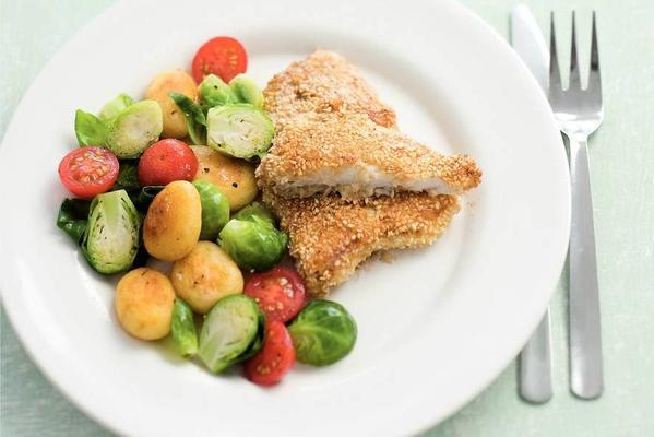 sesame fish with brussels sprouts and potatoes