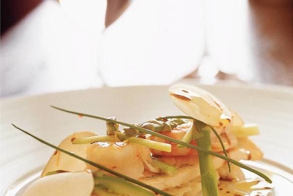 trout fillet with scampi and cauliflower-asparagus salad