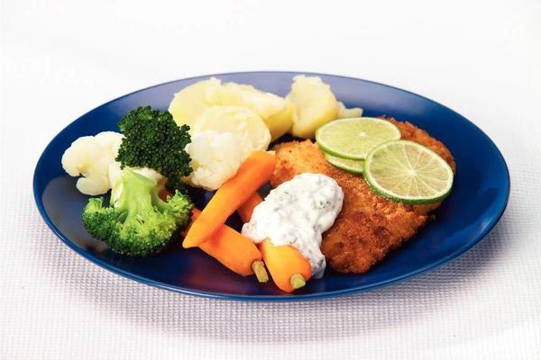 fried plaice with summer vegetables