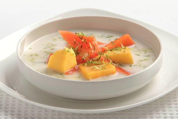 coconut soup with fruit salad
