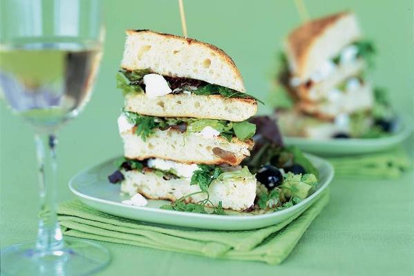 grilled focaccia with goat cheese and chervil salad