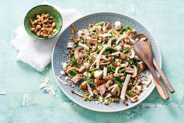 farro with chicken, spinach and mushrooms
