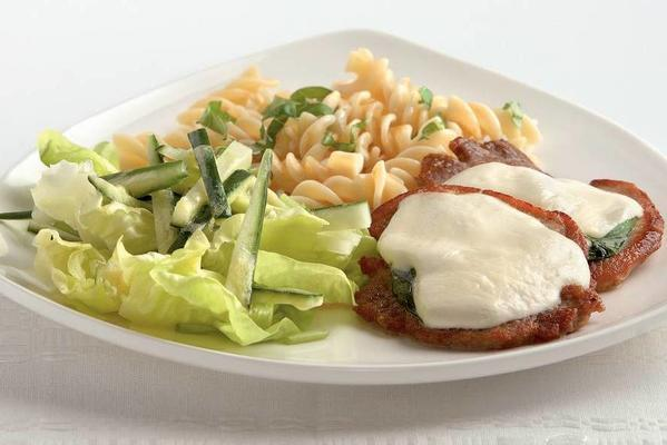 fillet patties with mozzarella and basil