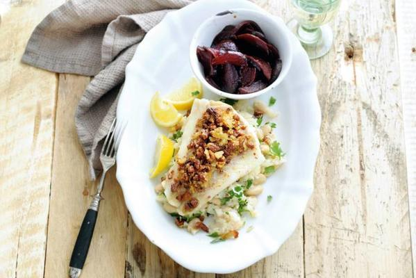 cod in pecan crust with celeriac purée