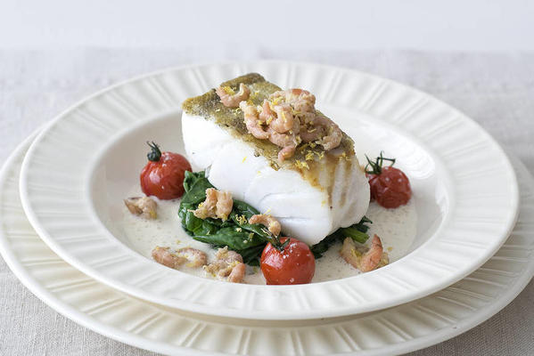 cod fillet with wild spinach