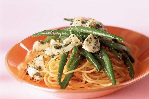 pesto pasta with green beans