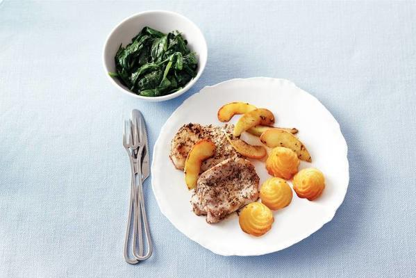 fillet steaks and apple