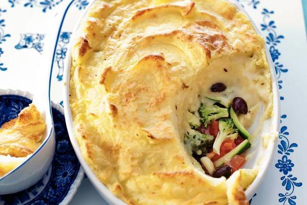 vegetable dish with cheese puree