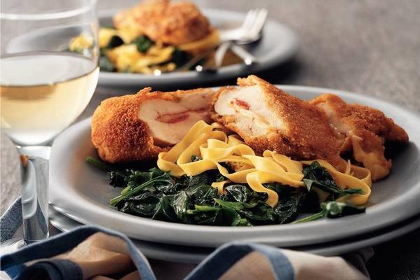 chicken cordon with fried spinach
