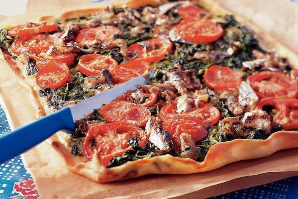 mallorcan pizza with spinach and sardines