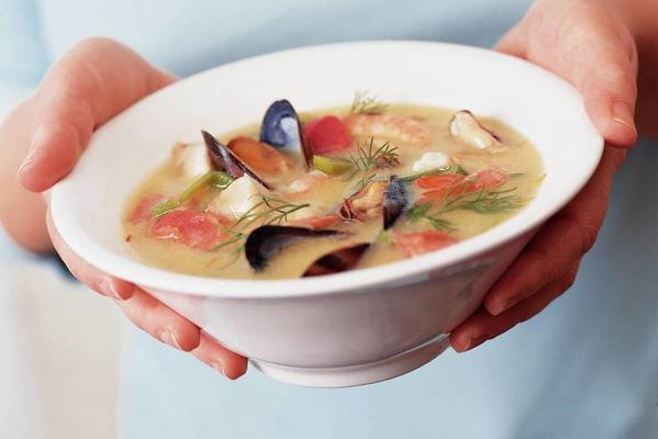 creamy fish soup with mussels and shrimps