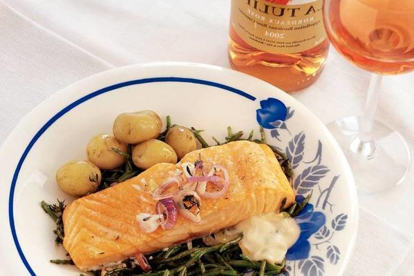 salmon from the oven with samphire and rosé