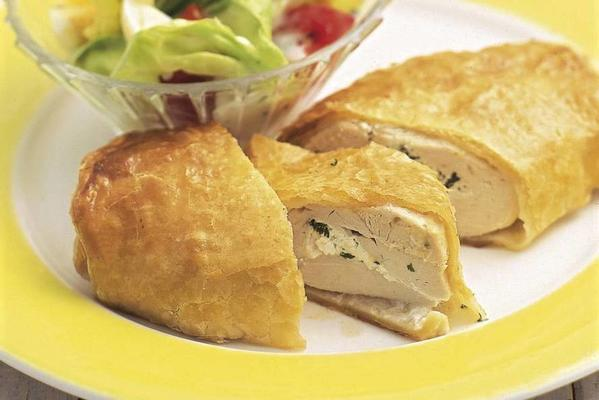 stuffed chicken fillet in puff pastry