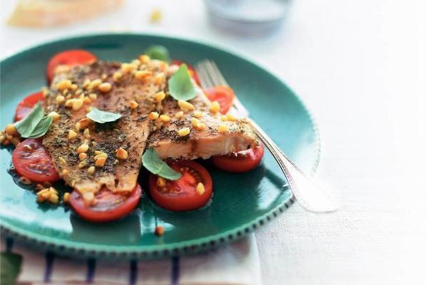 grilled tilapia on tomato salad