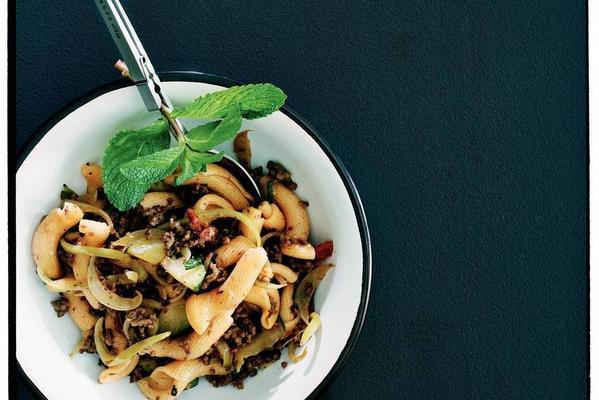 gigli with zucchini and mint