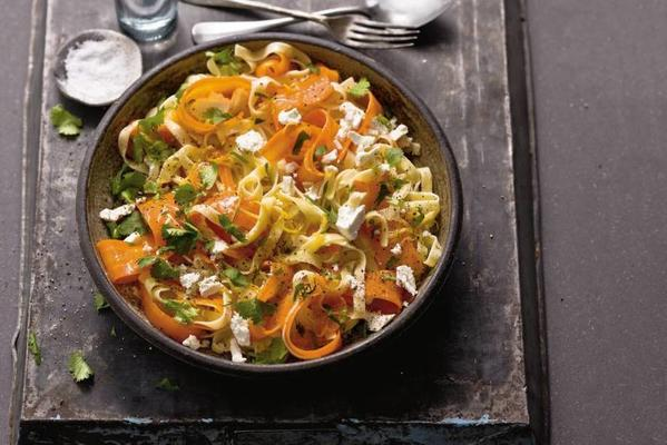 tagliatelle with carrot, lemon and goat cheese