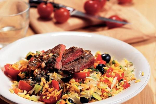 beef steak with olive vegetable list
