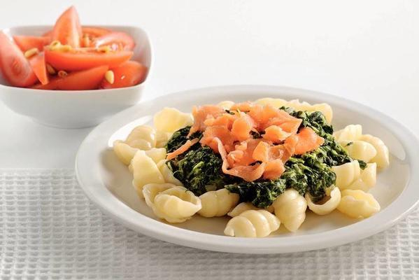 pasta with spinach sauce and smoked salmon
