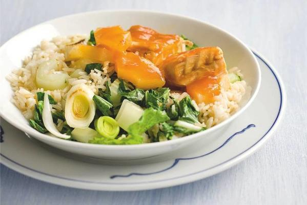 pollock in spicy lime sauce with rice