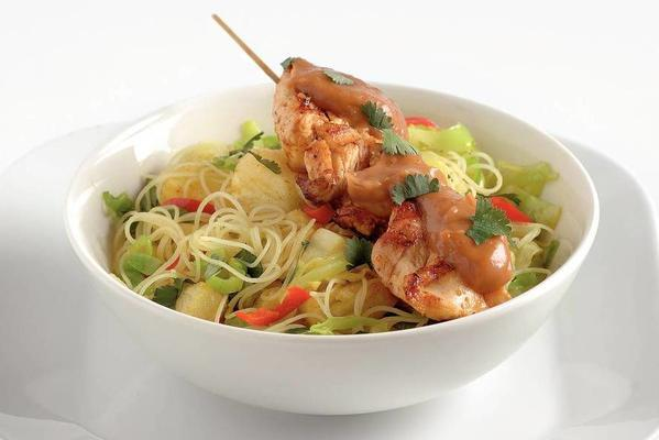 chicken satay with noodles and pineapple