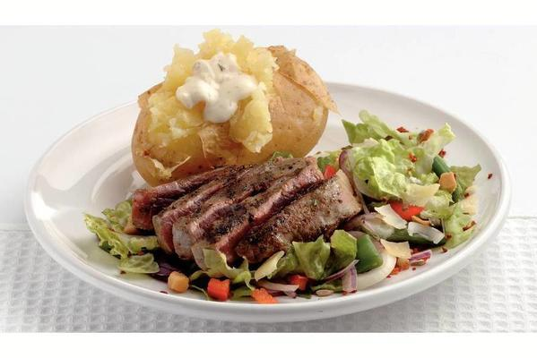 pepper steak with puff potatoes