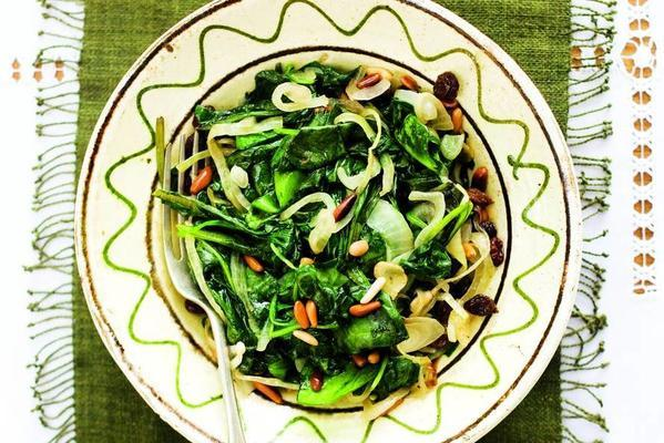 freshly baked spinach with onion