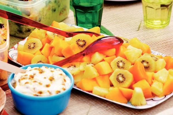 tropical fruit salad with passion fruit cream